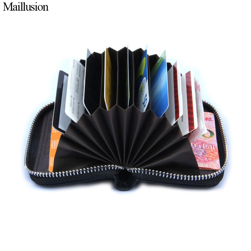Maillusion Genuine Leather Women Card Holder Wallets Small Female Pillow Purse Fashion Zipper Credit Card Bag Zipper Card Case