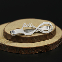 Оптовая продажа Бесконечность имя зажим для галстука стерлингового серебра 925 индивидуальные Для мужчин ювелирных изделий персонализиров...