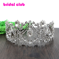 Luxurious Czech Crystal Olive Branch Large Crown Tiara Bridal Hair Jewelry Wedding Party Birthday Festival Hair Accessory