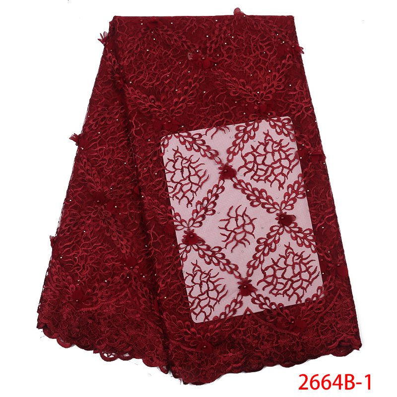 2019 High Quality African Lace Fabric 3D Flower Lace Fabric Beautiful Applique Embroidery With Stones For Dresses KS2664B-1