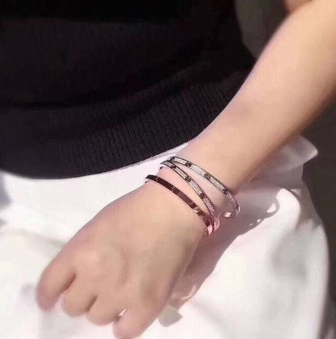 Real 100% 925 Sterling Silver Love  Shape Bracelet Full Of Zircon CZ Bangles Rose Gold/Silver Colors Famous Brand Jewelry