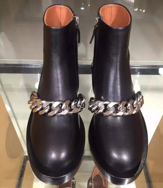 Véritable Pic Chelsea As Bottes Zip Bout De Cuir Pic Chaussures Rond Décoration Femmes Or Noir En as Mode argent Métal Chaînes Design Hvqwx68UU