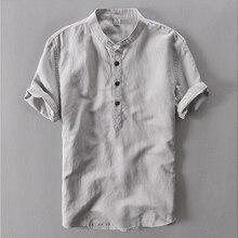 Navy White Mandarin Collar Dress Shirt Summer Loose Ultra Thin Male Linen Shirt Men Short Sleeve Chinese Collar Shirt For Men