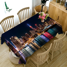 3D Tablecloth City Night Scene Pattern Dustproof Table Cloth Wedding Banquet Decoration Tablecloth Household Items 3d night scene door sticker