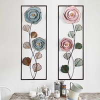 Creative Flower Iron Cage Wall Hanging Mural Home Crafts Decor 3D Stereo Office House Background Wall Sticker Decoration R1205