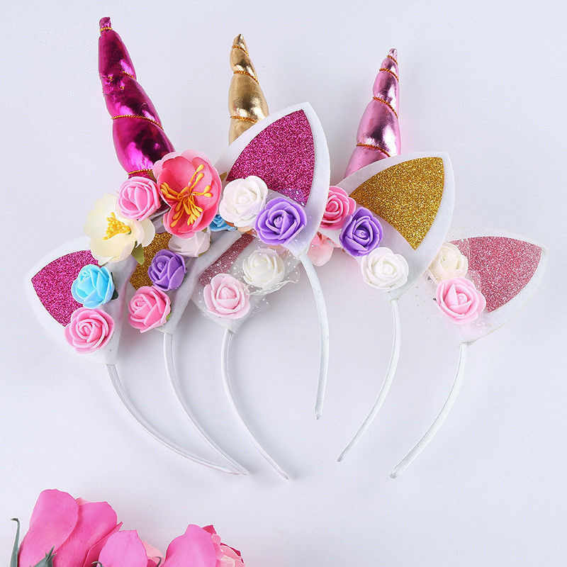 daed52714f1 2018 New Cute Kids Baby Girls Sweet Flower Unicorn Horn Hair Band Headband  Birthday Party Floral