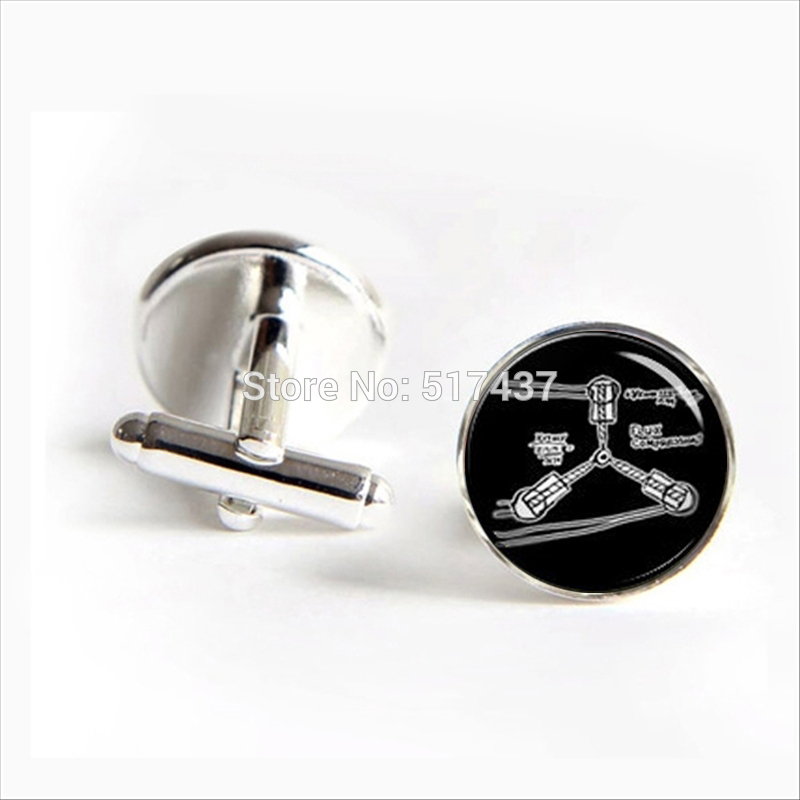 2017 wholesale Flux Capacitor Cufflinks Flux Compression Back to the Future Cuff Brand Cuff Links Men