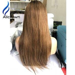 Image 4 - ALICROWN pelucas de cabello humano con encaje frontal ombré 1b/27, pelo Remy brasileño, 13x4, pelucas de encaje prearrancadas con nudos blanqueados de pelo de bebé