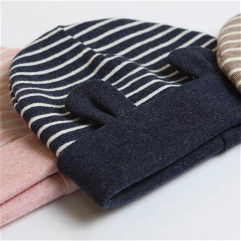 Soft cotton baby with ear stripe beanie toddler newborn kids cap boys girls hat