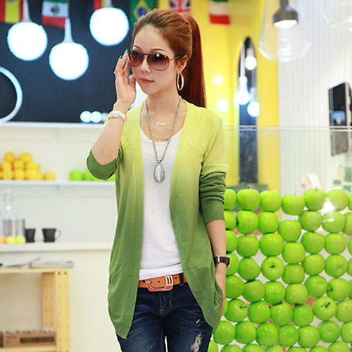 Women's Fashion Casual Gradient Color Long Sleeve Sweater Knitwear Cardigan
