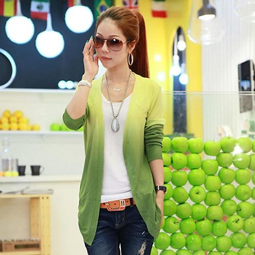 Women's Fashion Casual Gradient Color Long Sleeve Sweater Knitwear Cardigan