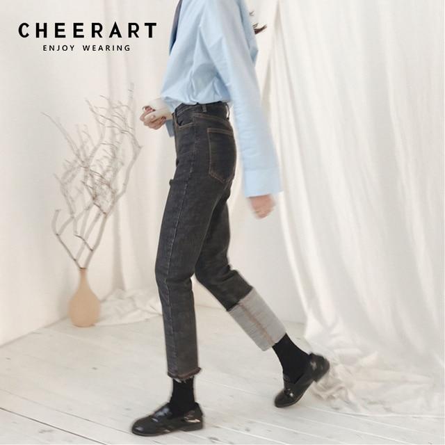 bb85c9f3cdb Cheerart Spring Stretch Straight Jeans Women High Waist Jeans Black Grey  Ankle Denim Pants Femme Korean Style 2018