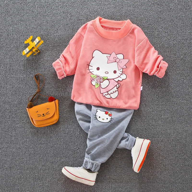 Toddler Girls cartoon Hello Kitty Clothing sets Long Sleeve Top Pants Kids clothing Set girl sport suit girls Clothes girl sets girls hello kitty happy birthday t shirts 2017 brand cartoon toddler girl dresses spring autumn girl dress