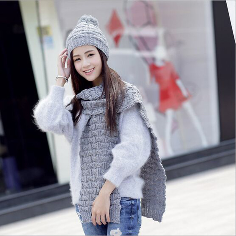 Considerate Warm Acrylic Winter Scarf Fashion Women's Scarf Knitted Beanies Bonnet Caps Female Black Hat Scarves Set To Adopt Advanced Technology