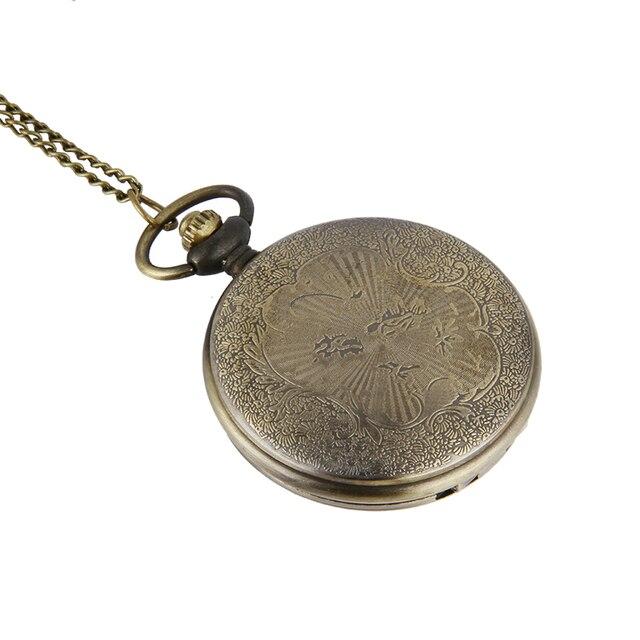 AAA Creative Retro Design Pocket Quartz Watch Vintage Bronze Pocket Watch Necklace Chain Pendant Gift For Women Men