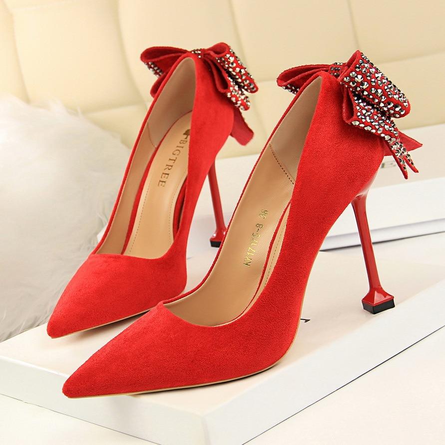 Noir Mode Occasionnel sur Base De rouge Bout rose Talons Slip Femmes Simples kaki Chaussures Haute Profonde Pointu Pompes Sexy Super Dames Peu Mince 4wfr4qH