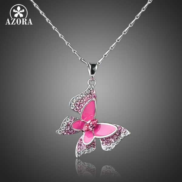 AZORA Sparkling White Gold Color Stellux Austrian Crystal Pink Butterfly Pendant Necklace TN0066