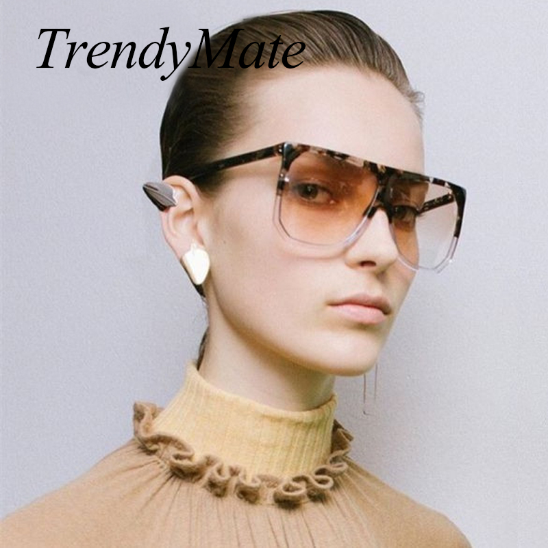 New <font><b>2018</b></font> Oversized Rivet Brand Designer Celebrity Super <font><b>Star</b></font> Women Sunglasses <font><b>Sexy</b></font> Sun Glasses Flat Top Aequare <font><b>Lady</b></font> Female 553 image