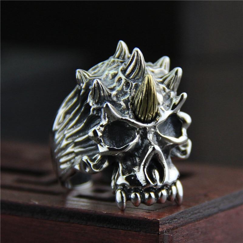 Bagues pour hommes garantis argent s925 anneau de crâne Antique bijoux pour hommes grandes bagues taille 7-10 bijoux Viking Anelli Uomo