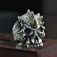 Guaranteed Mens Rings Silver s925 Antique Skull Ring Jewellery For Men Large Rings Size 7 10 Viking Jewellery Anelli Uomo