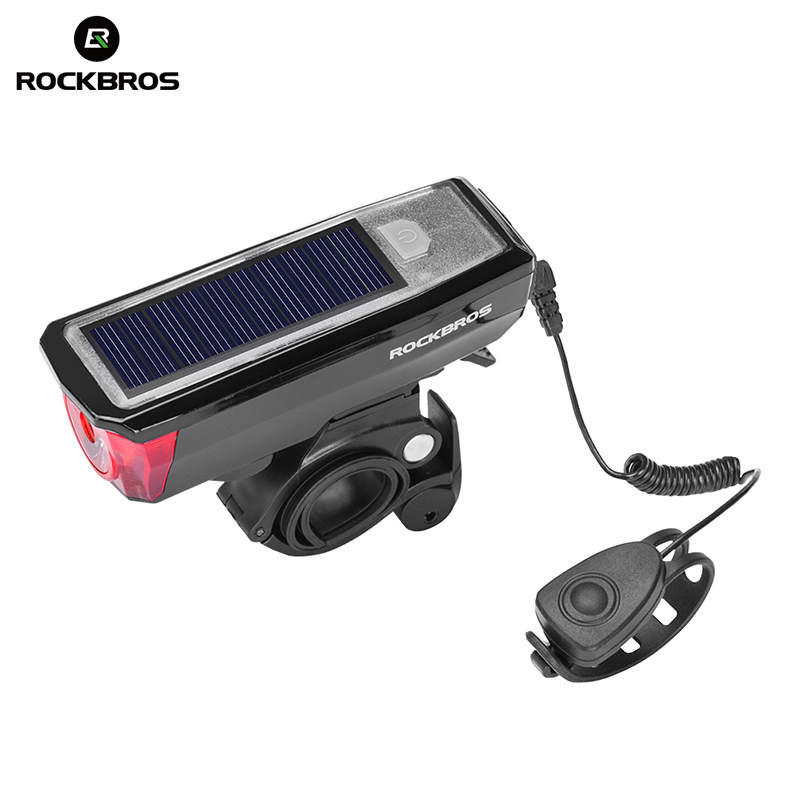 ROCKBROS Cycling Solar USB Charging Light IPX4 Led Waterproof Bell 120 DB Headlight Sensing Smart Switch Front Bike Light