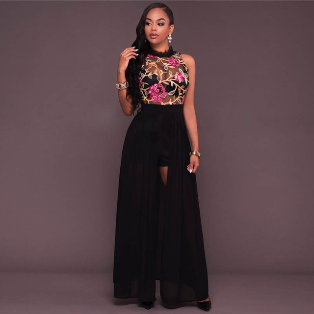 Mesh Floral Lace Perspective Lined Maxi Dress 2