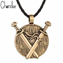 Chandler HigH Quality Double Sword Round Pendant Necklace Medieval Classic Black Bronze Copper Jewelry Wizard Fashion Retro Gift