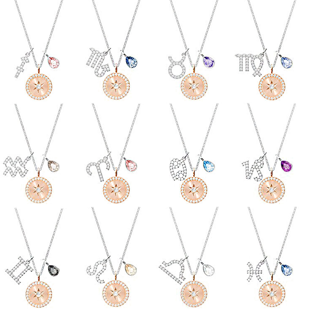 CHAMSS Twelve Constellation Pendant Necklace ZODIAC PENDANT, TAURUS, VIOLET ARIES, PINK, RHODIUM LEO, WHITE, RHODIUM