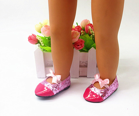 American Girl Doll Shoes of Rose Pink Color Lace Up Princess Doll Shoes for 18 American Girl Dolls and Other 18 Girl Dolls