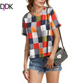 DIDK Ladies Summer Tops For Woman Hot New Fashion Womens Multicolor Round Neck Short Sleeve Plaid Casual Blouse