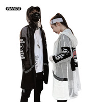 Men Mesh Hollow Long Sleeve Hooded Shirt Coat High Street Fashion Hip Hop Casual Long Style