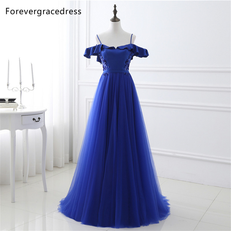 Forevergracedress Real Photos Elegant Blue   Evening     Dress   Vintage Long Tulle Formal Party Gown Plus Size Custom Made