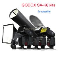 Godox SA K6 6 in 1 photography speedlite Accessories Kit Softbox Filter Reflector Honeycomb Snoot Flash Holder For Speedlite