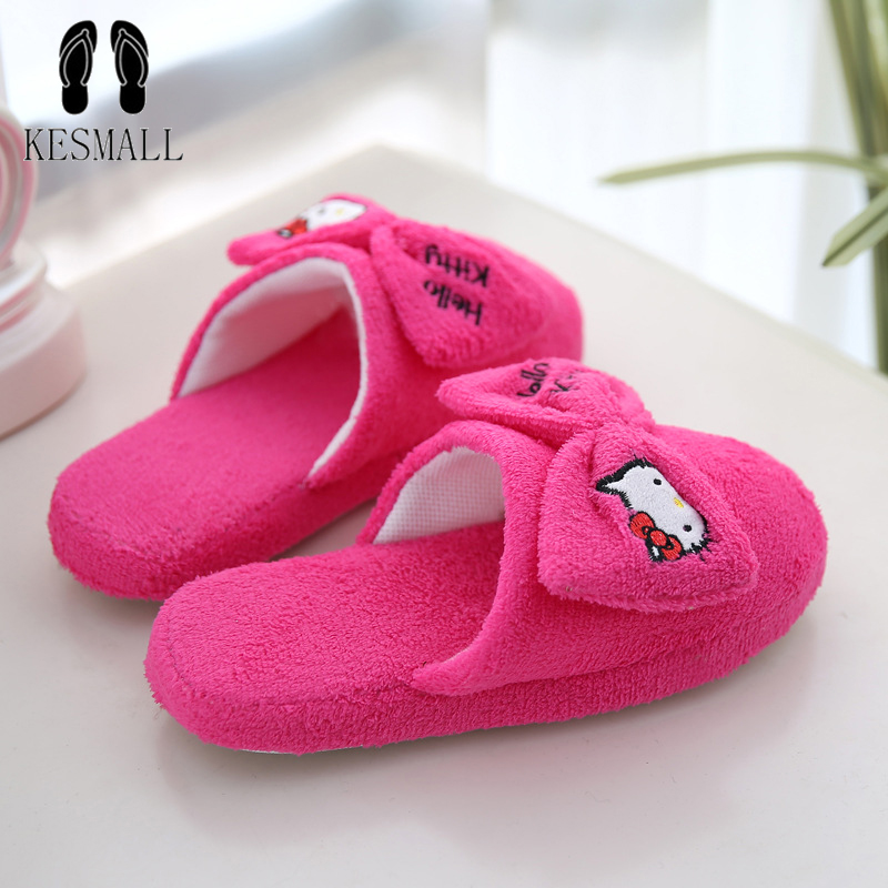KESMALL New Arrival Women Cute Pig Home Floor Soft Stripe Slippers Female Comfortable Cotton-padded Warm Slippers Shoes WS325
