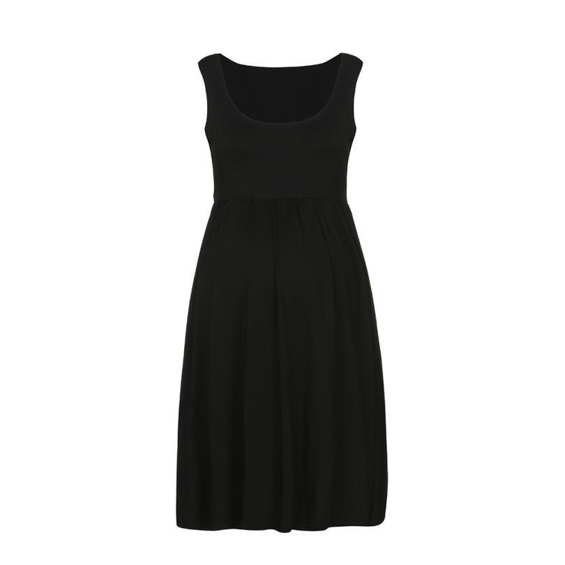 5-MB Fashion Womens Pregnants O-Neck Sleeveless Nursing Maternity Solid Vest Dress