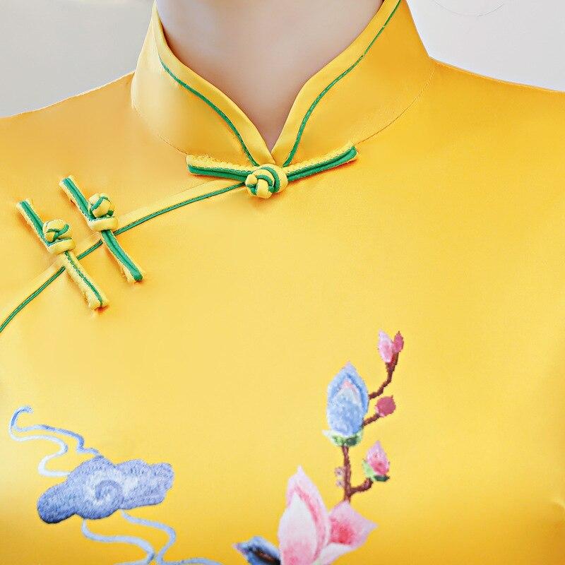 Fiesta Verde Cheongsam rosado Largo De Slim Qipao Mandarín champagne Green light Vestidos 2018 amarillo Chino S Mujer rojo xxl Verano Vestido Estilo Rayón Collar wTExRn6q
