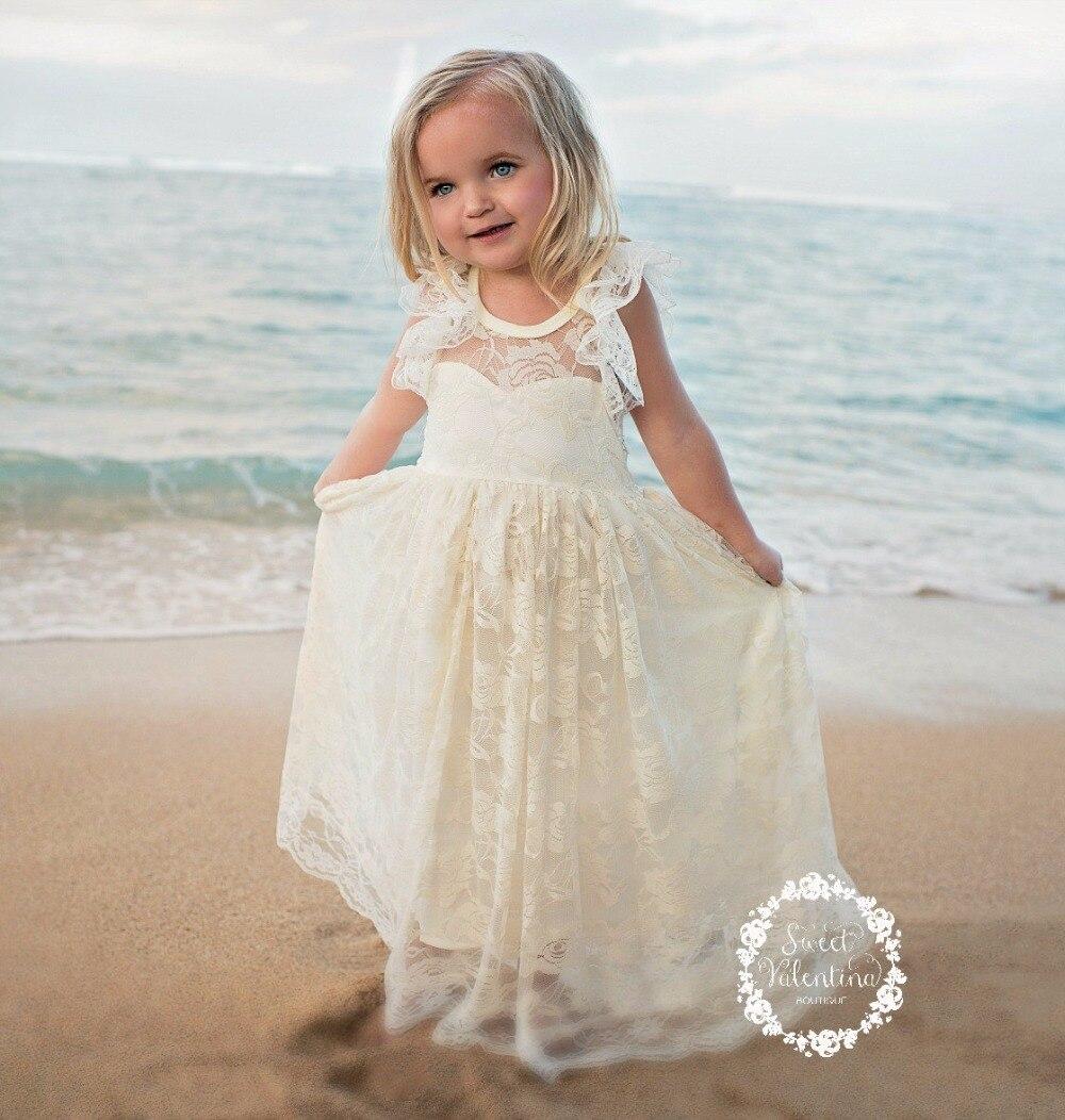 Griechischen Beige Spitze Blumenmädchen Kleider Für Strand hochzeit ...