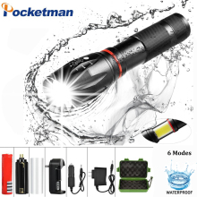 6 Modes LED XML T6+COB Flashlight 8000LM Rechargeable  Lantern Torch Tail Magnetic Water-Resistant by AAA 18650 flashlight sitemap 139 xml