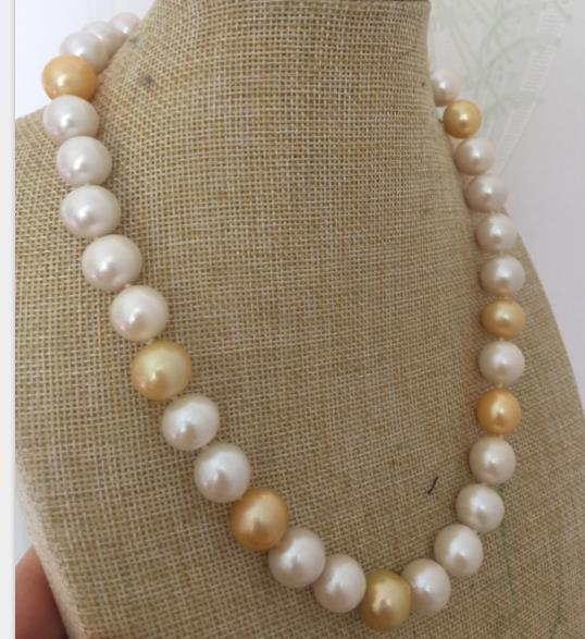 10-11mm freshwater round white gold multicolor pearl necklace 18inch 925silver10-11mm freshwater round white gold multicolor pearl necklace 18inch 925silver