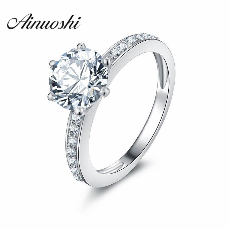AINOUSHI 2 Carat Round Cut 925 Sterling Silver Ring SONA Wedding Engagement Band Women Girls Bijoux