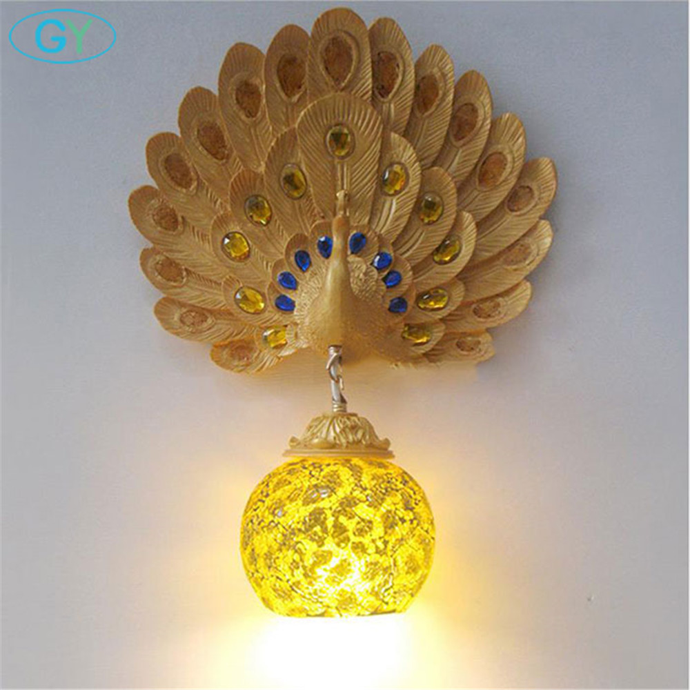 AC100 240V Art Deco Resin Peacock Wall lamps with mosaic glass lampshade decorated by glass crystal Gold wall lights for gifts