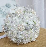 Flores novia la celebración de flores de alta calidad de lujo blanco perla broche de plata con flores
