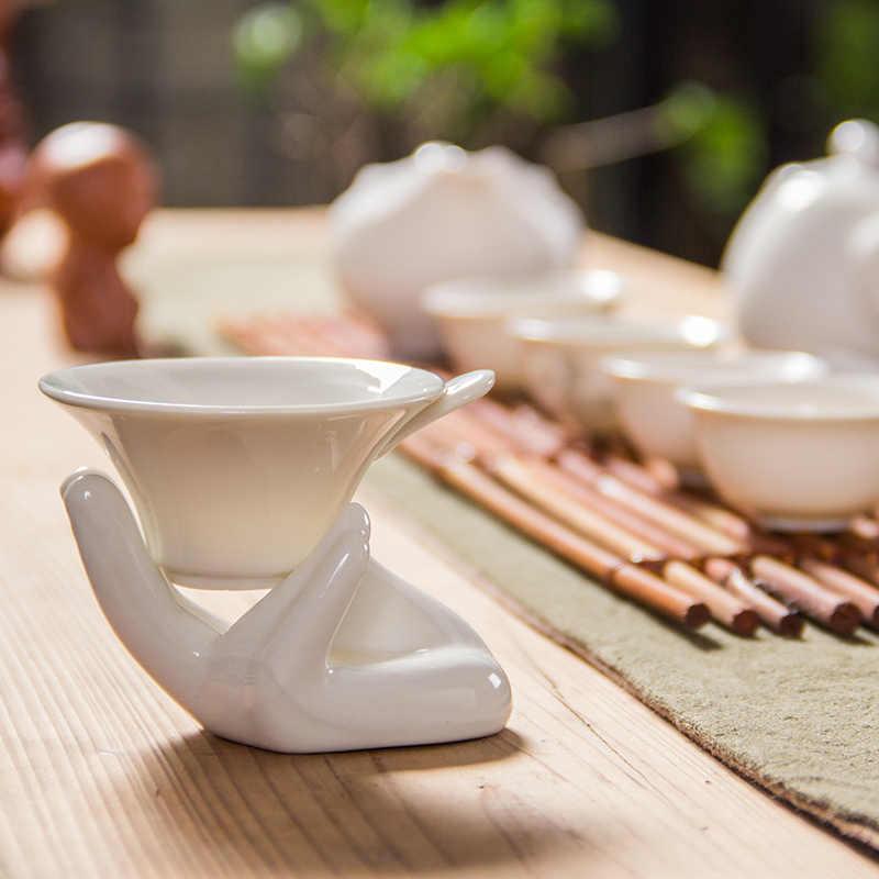 สำหรับชากังฟูชาชุดจีนหยกขาวเทพธิดาแห่งความเมตตาชากรองสีขาวพอร์ซเลนชาS Trainersเครื่องสังคโลกD014
