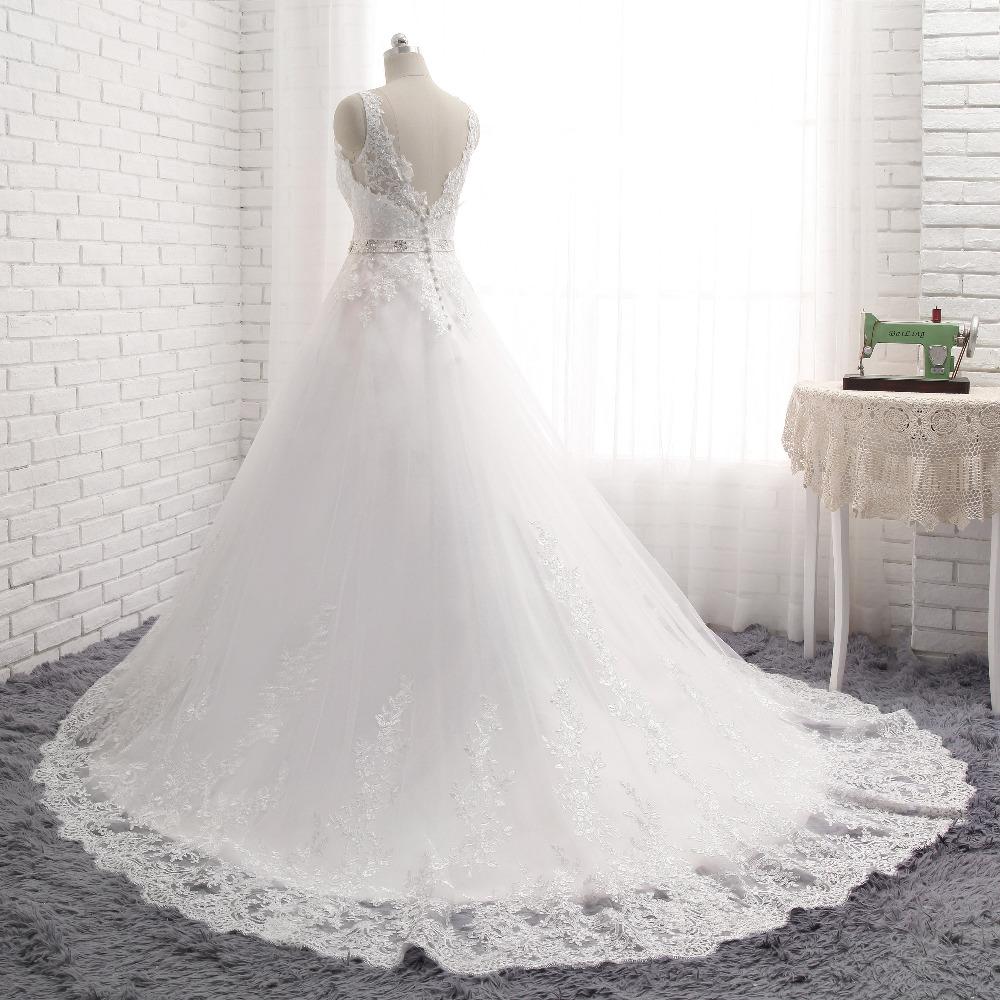 Lover Kiss Vestido De Noiva New Design A Line Lace Wedding Dress V Neck Beaded Sash Backless Sexy Vintage Gowns Wedding Dress 4