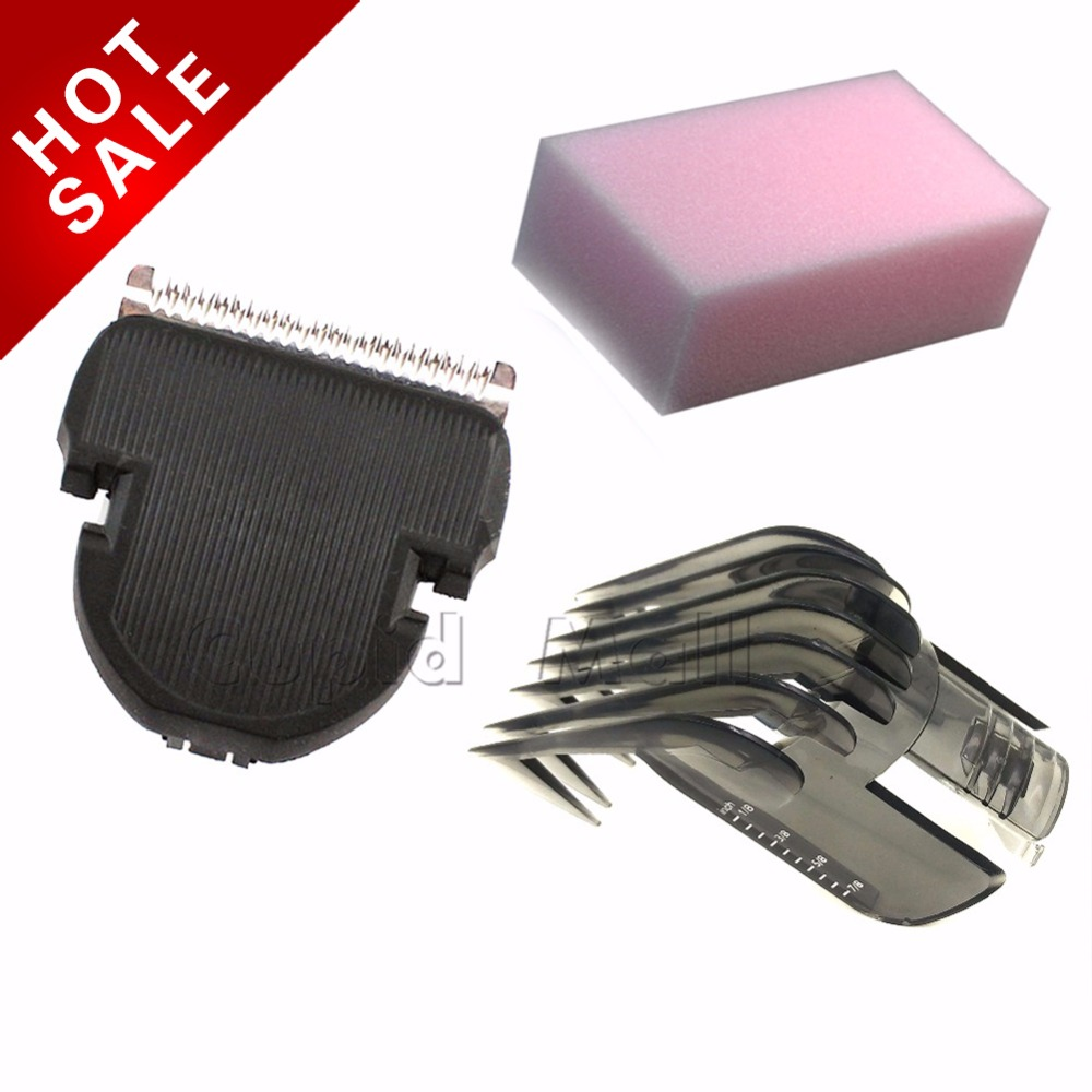 3pcs/set HAIR CLIPPER COMB +  Hair Trimmer Cutter + sponge For philips QC5125 QC5130 QC5135 QC5105 QC5105 QC5115 QC5155 QC5120 new 680w sheep wool clipper electric sheep goats shearing clipper shears 1 set 13 straight tooth blade comb
