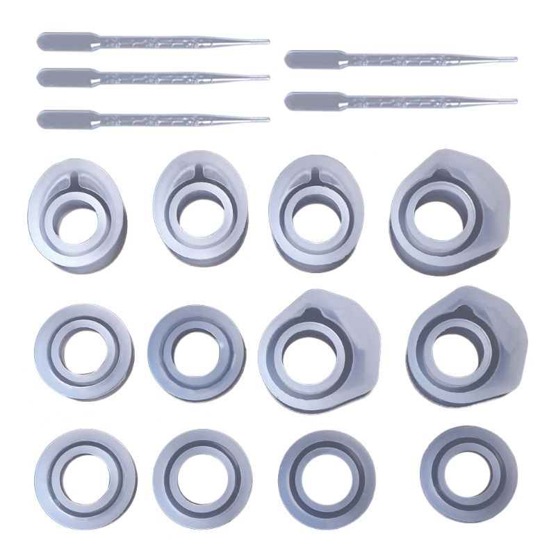 1 Set Epoxy Resin Kit Silicone Mold Ring Molds 3 Sizes Dropper DIY Jewelry Rings 16/16.6/17mm Handmade Gifts Accessories Finding