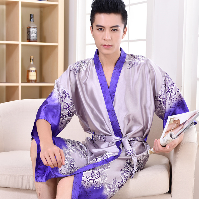 2017 Spring Summer Autumn Men China Traditional Satin Silk Robes Male Bath Robe Casual Home Clothing Man Sleepwear Plus Size 3XL