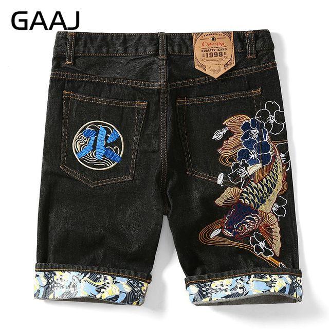 homme jeans d'été jeans Chinois carpe brodé homme style lourd shorts court GAAJ Japon UgSWaqFF