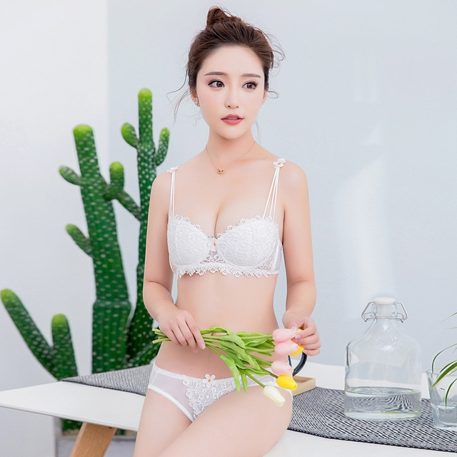 287e9e885 Women Sexy Lace Half Cup Bra Underwear Seamless Comfortable Bra Set Fine  Embroidery Lovely Girl Push Up Underw