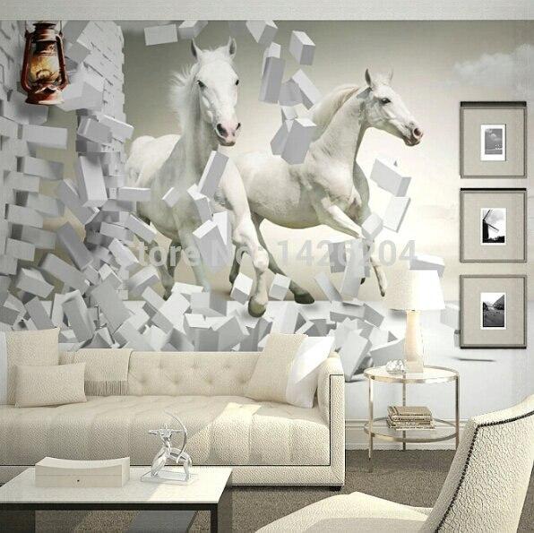 grande parete 3d cavallo bianco murales carta da parati, 3d cavallo
